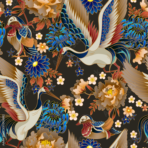 Tapeta do sypialni  seamless-pattern-with-mandarin-ducks-flowers-and-cranes-vector