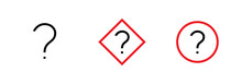 Three Question Mark With Thin Line In Black And Red Colored. Editable Vector Stroke. Ask A Question.