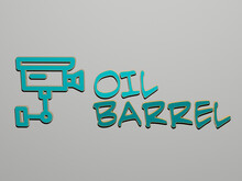 3D Graphical Image Of Oil Barrel Vertically Along With Text Built By Metallic Cubic Letters From The Top Perspective, Excellent For The Concept Presentation And Slideshows. Background And