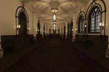 Old Medieval Hallway With Lights, 3d Render.