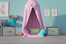 Cute Girls Room Backdrop, 3d R...