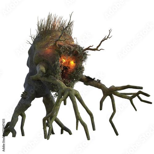 Fotografiet Spooky tree monster isolated on white, 3d render.