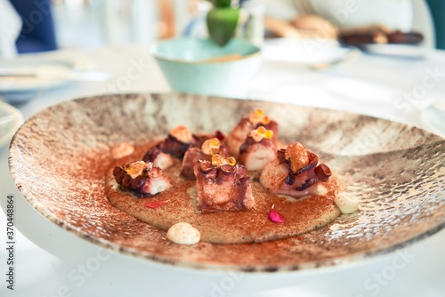 Delicious plate with grilled octopus with sauce