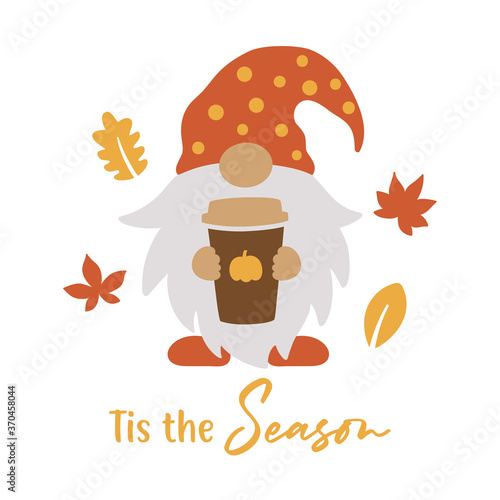 Fotografiet Vector illustration of a cute gnome holding a pumpkin spice latte coffee cup in fall