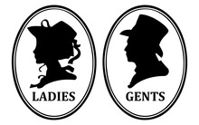 Icons Of Man And Woman In Retro Style. Male And Female WC Sign. Ladies And Gents Toilet Symbol. Stock Vector