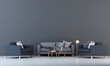 Leinwanddruck Bild - The modern mock up interior design space of living room and grey pattern wall background/3D rendering