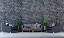 The Modern Mock Up Interior Design Space Of Living Room And Black Zig Zag Brick Pattern Wall Background/3D Rendering