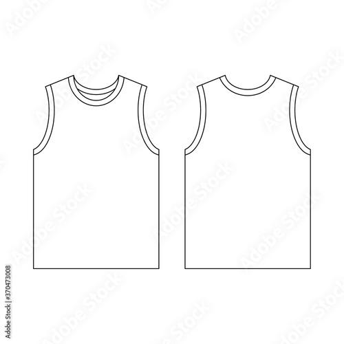 Obraz na plátně Template jersey basketball o-neck vector illustration flat design outline templa