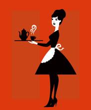 Elegant Waitress With A Tray. ...