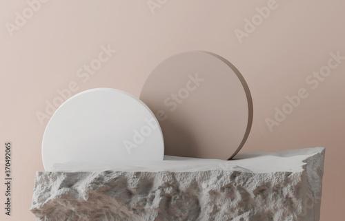 3D grey stone display podium Wallpaper Mural