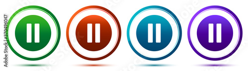 Pause icon artistic frame round button set illustration Slika na platnu