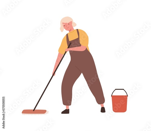Fototapeta Cheerful elderly woman with mop and bucket, in office cleaning service, janitor uniform washing floor