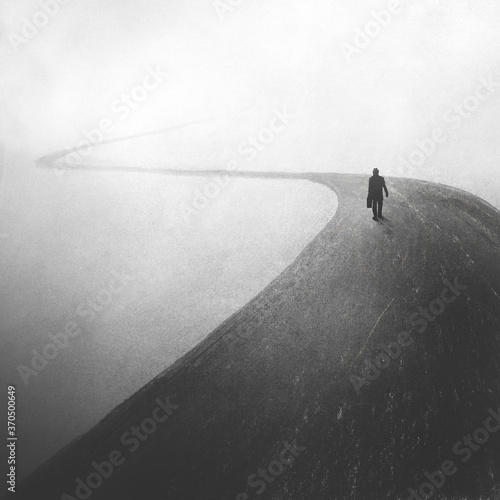 Canvas Print illustration of mysterious man walking in a dark foggy street, solitude concept