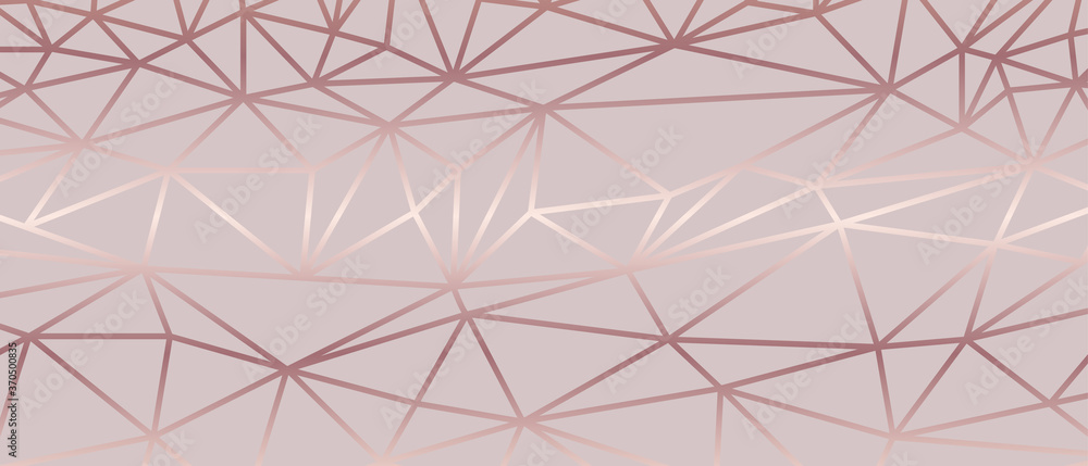 Fototapeta Luxury  abstract polygon artistic geometric with rose gold line background. Decorating in pattern of premium polygon style for ads, poster, cover, wallpaper, print, artwork.  Vector illustration.
