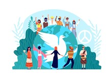 Peace International Day. World Global Harmony, Unity And Religion. Hope Or Love Symbol, Dove And Diverse People Together Vector Concept. Hope International Unity, World Love Freedom Illustration