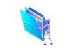 Data analysis, files and folders, robot moving documents, kpi analytics, digital technology in finance, big research isometric illustration, 3d isometric background