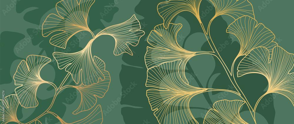 Fototapeta Luxury Gold Ginkgo line arts on emerald green Background. Vector illustration..