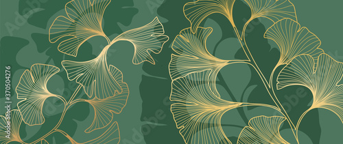 Fototapety zielone  luxury-gold-ginkgo-line-arts-on-emerald-green-background-vector-illustration