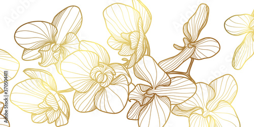 Obraz Luxury elegant gold orchids floral line arts pattern and black background. Topical flower wallpaper design, Fabric, surface design. Vector illustration. - fototapety do salonu