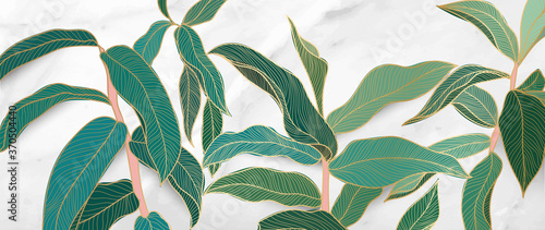 Luxury gold tropical leaf and nature line art ink drawing with white marble background vector. Leaves and Floral pattern vector illustration.