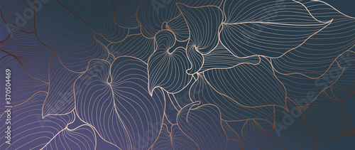 Leinwand Poster Luxury gold line art and Variegated Plants nature drawing background vector