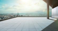 Perspective View Of Empty Concrete Tiles Floor Of Rooftop