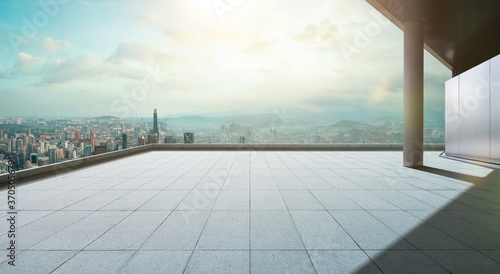 Perspective view of empty concrete tiles floor of rooftop Canvas