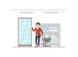 Young Man Shopping at Supermarket and Buying Grocery Products, Guy Pushing Shopping Cart with Purchases Vector Illustration