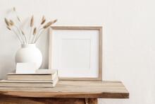 Square Wooden Frame Mockup On ...