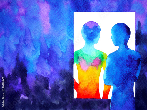 Foto abstract human your mind spiritual consciousness mirror watercolor painting illu