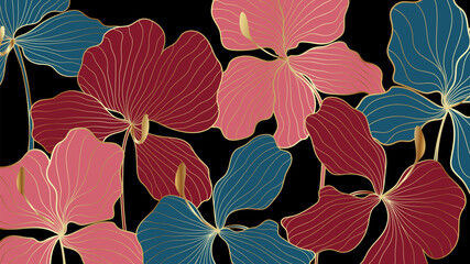 Panel Szklany Egzotyczne Luxury elegant gold orchids floral line arts pattern and black background. Topical flower wallpaper design, Fabric, surface design. Vector illustration.