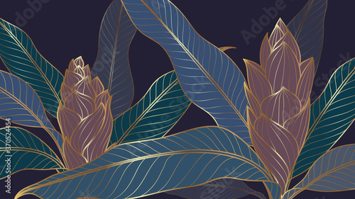 Obraz Luxury tropical leaf, floral and nature line art ink drawing background vector. Leaves and Floral pattern  vector illustration. - fototapety do salonu