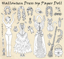 Set Of Dress Up Paper Doll With Halloween Witch Clothes, Cat, Pot, Magic Bottles.
