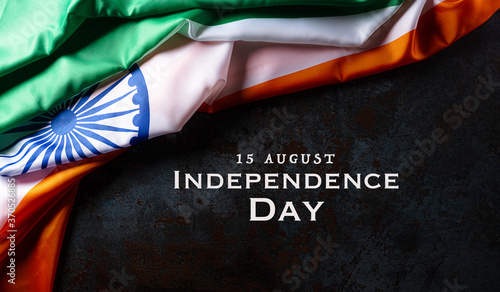 Obraz Indian Independence Day celebration background concept. Indian flag on dark stone background for Republic Day and Independence Day. - fototapety do salonu