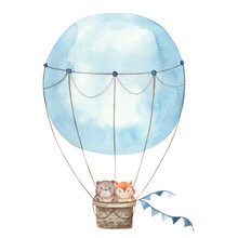 Illustration Of A Balloon In Blue With A Fox And A Bear Cartoon Inside A Watercolor Illustration, Kids Design For Cards, Invitations