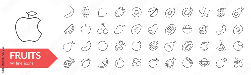 Fototapeta Fruits line icon set. Isolated signs on white background. Vector illustration. Collection