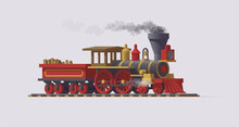 3d Steam Locomotive. Mowing Train On White Background. Vector Illustration