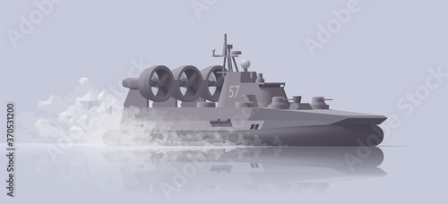 Photo Mowing hovercraft battleship on light background
