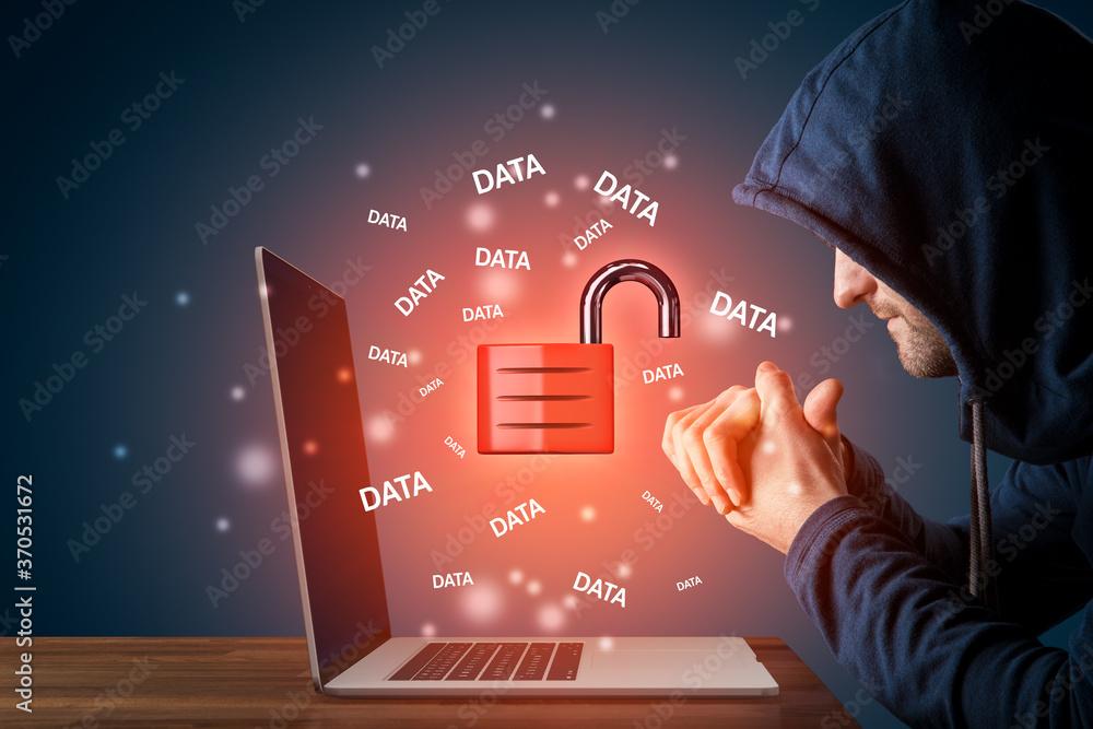 Fototapeta Malicious hacker prepared to steal data cybersecurity concept