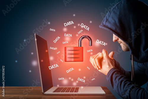 Fototapety, obrazy: Malicious hacker prepared to steal data cybersecurity concept