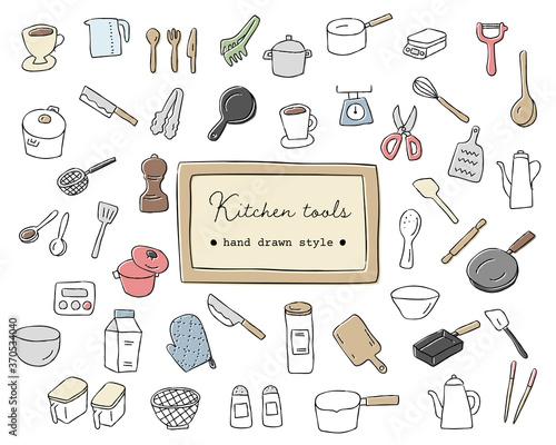 Foto 手書きの調理器具のイラストのセット/キッチン/道具/おしゃれ/料理