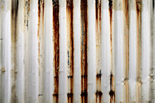 Rusted White Old Worn Corrugated Shipping Container Wall