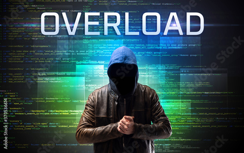 Fototapety, obrazy: Faceless hacker with OVERLOAD inscription on a binary code background