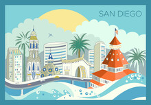 San Diego City Skyline With Landmarks And Scrapers. Detailed Urban Panoramic Illustration. Editable Stroke