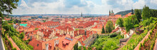 City Summer Landscape, Panorama, Banner - Top View Of The Mala Strana (Little Side) Of The Historical District Of Prague, Czech Republic
