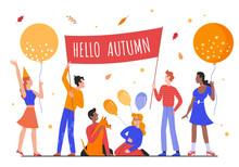 Hello Autumn Concept Vector Il...