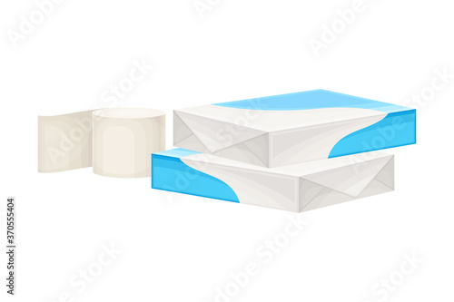 Photo White Paper Ream and Roll of Paper as Manufactured Product Vector Illustration
