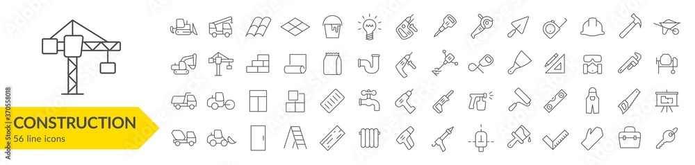 Fototapeta Construction line icon set. Construction vehicle, elements, tools. Vector illustration. Collection