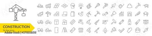 Obraz Construction line icon set. Construction vehicle, elements, tools. Vector illustration. Collection - fototapety do salonu