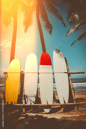 Obraz Surfboard and palm tree on beach background. - fototapety do salonu